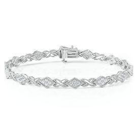 1ct Tw Round Diamond Milgrain Bracelet In Sterling Silver Bracelets Jewelry Categories Helzberg Diamonds