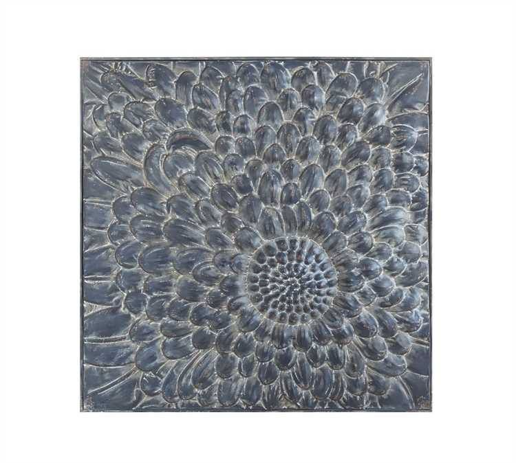 Square Embossed Metal Wall Décor w/ Flower,