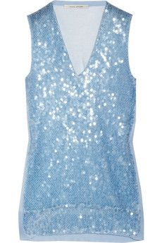 Marc Jacobs Sequined fine-knit cotton-blend tank. Marc Jacobs' fine-knit cotton-blend tank is a stunning way to work the trend. Sprinkled with iridescent sequins, this runway-fresh style will add sparkle and shine to your evening look. Pair with a sleek white pencil skirt for new-season cocktail glamour. Pale-blue fine-knit cotton-blend. Pale-blue sequin embellishment, ribbed trims. Slips on. 78% cotton, 22% nylon