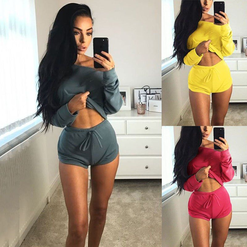 a433b908112a8  15.32 - Cool Fashion Summer Two Piece Set Sexy Women Crop Top Off Shoulder  Shirt Lace Up Shorts Pants Trouser Outfits Casual Tracksuit - Buy it Now!