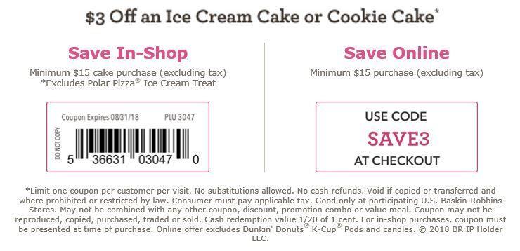 Baskin Robbins Coupon 3 Off 15 Ice Cream Cake Or Cookie