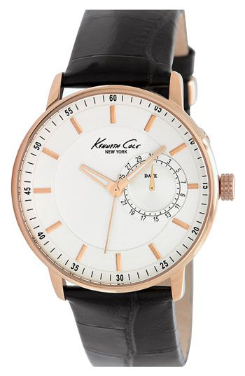 d71ad14a702 Kenneth Cole New York Round Leather Strap Watch available at Nordstrom