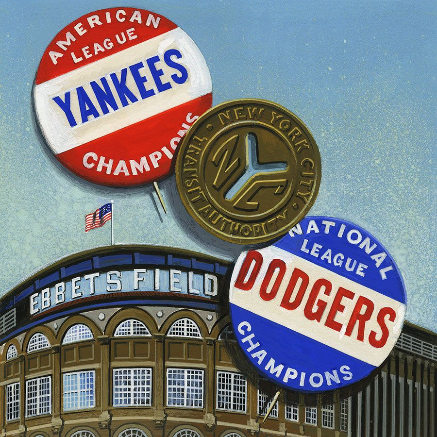 """World Series Rivals"" stamp art by Dean Ellis 1999."