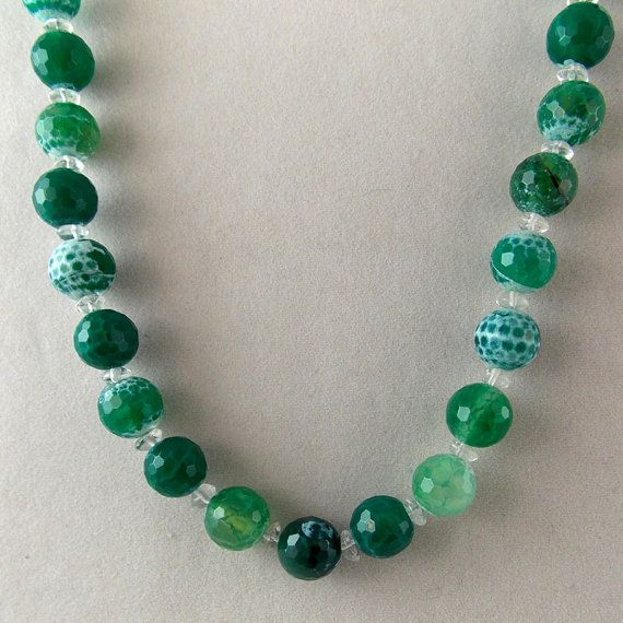 Green Fire Agate Necklace Gemstone by BeadedNecklacesByHBJ on Etsy