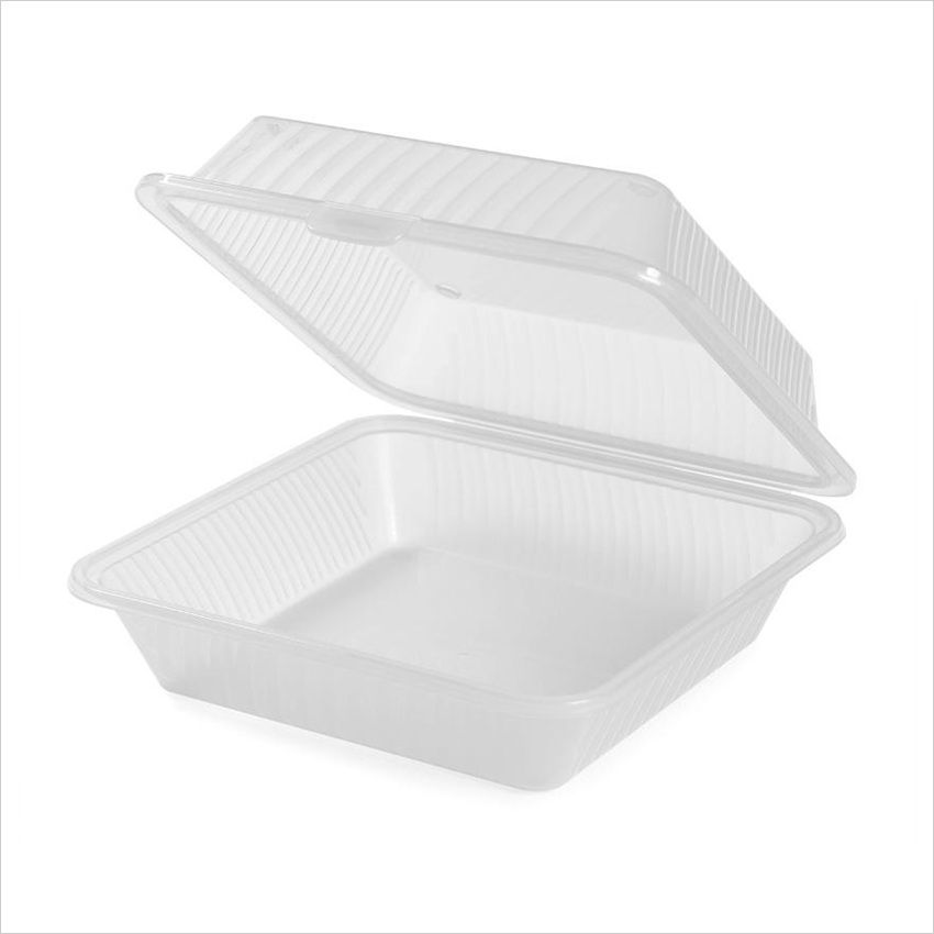Eco Takeouts 9 inch x 9 inch Single Entree 3.5 inch Deep Clear Polycarbonate/Case of 12