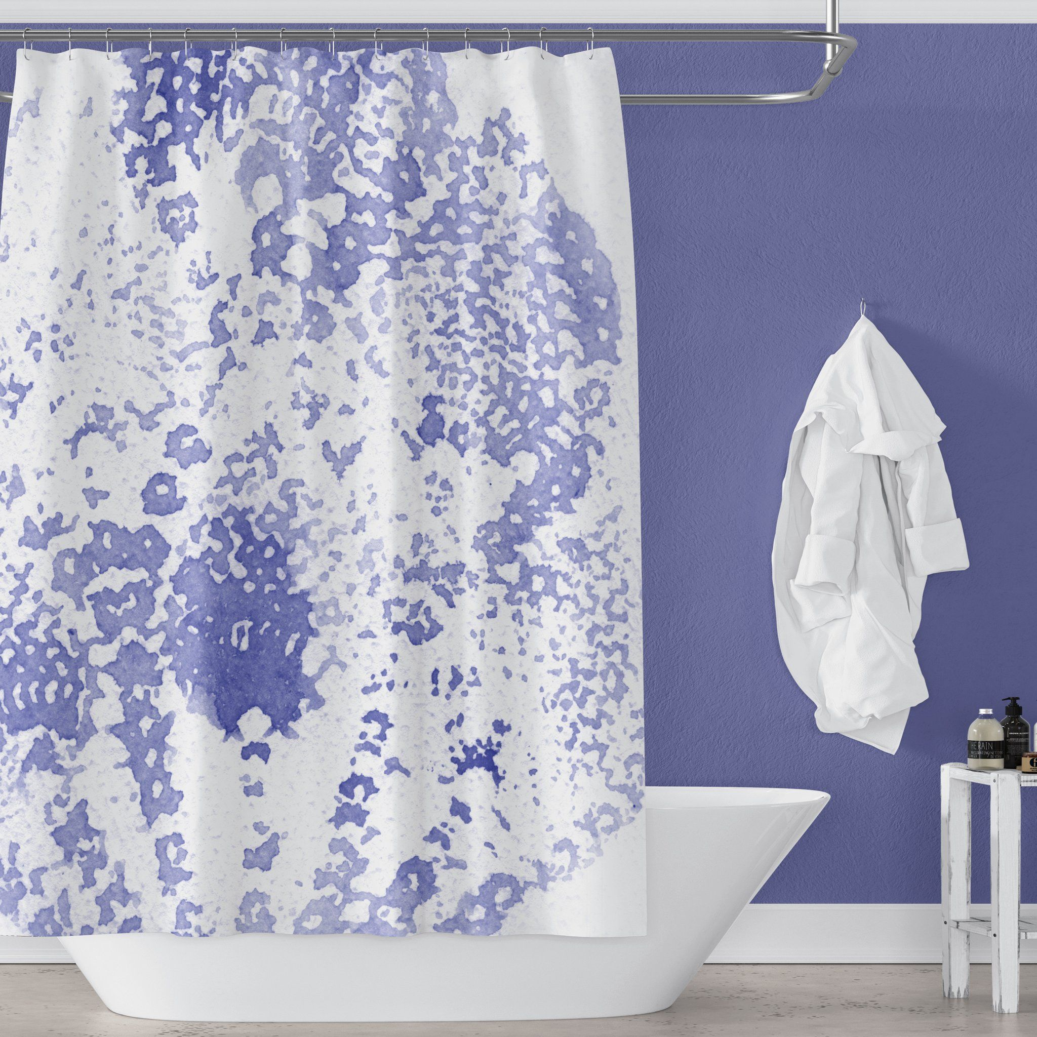 Boho Periwinkle Violet Blue Watercolor Bathroom Decor Floral