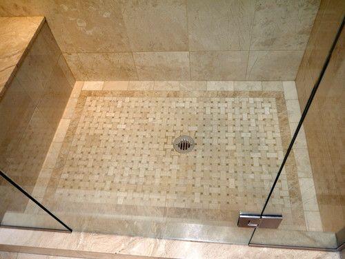 Master Shower Floor Cream Marble Basketweave Tile Carpet Christine Austin Design Shower Tile Travertine Bathroom Bathroom Shower Tile