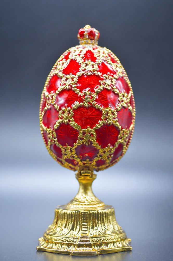 Red faberge egg jewellery european trinket box royal russian easter red faberge egg jewellery european trinket box royal russian easter gift crown crown egg and russian art negle Image collections