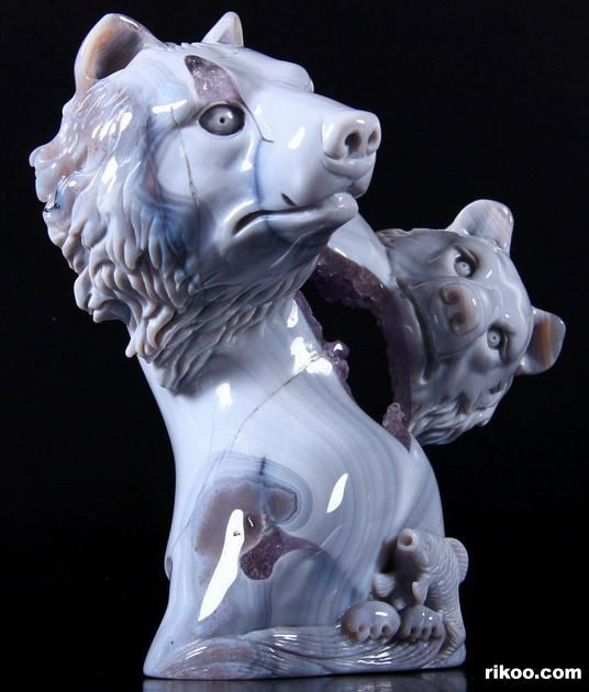 "5.7 "" Agate Amethyst Geode Carved Bears and Fish Sculpture, Stone origin : Brazil, via rikoo.com"