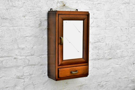 Rustic Bathroom Wall Cabinet Storage Cabinet In Oak With Large Beveled Mirror And Tray Vintage Mirr Bathroom Wall Cabinets Rustic Bathroom Rustic Furniture
