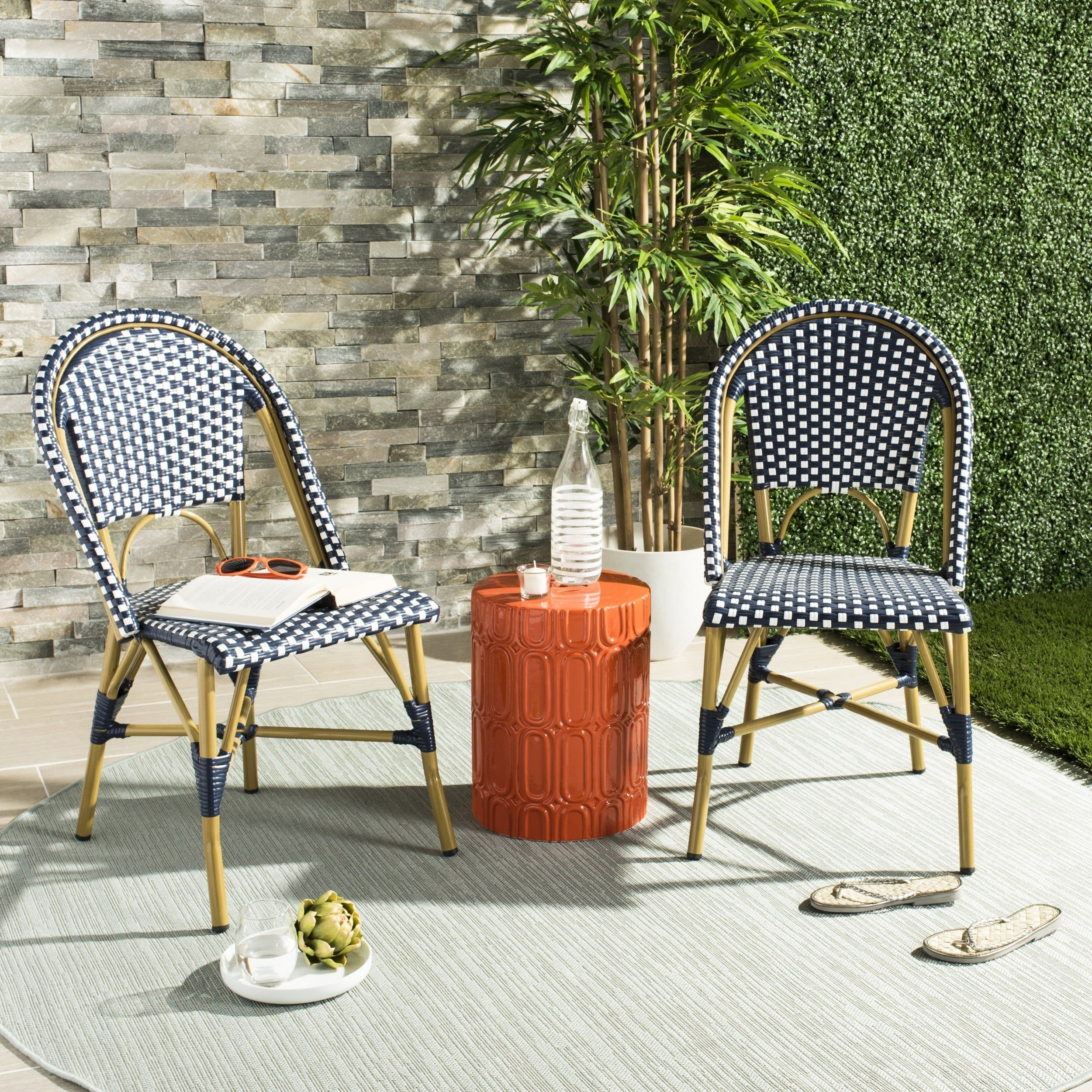 Outstanding Safavieh Salcha Indoor Outdoor French Bistro Navy White Camellatalisay Diy Chair Ideas Camellatalisaycom