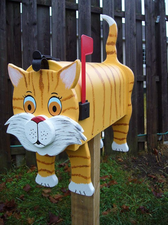 Cat mailboxes - Yellow Cat mailbox