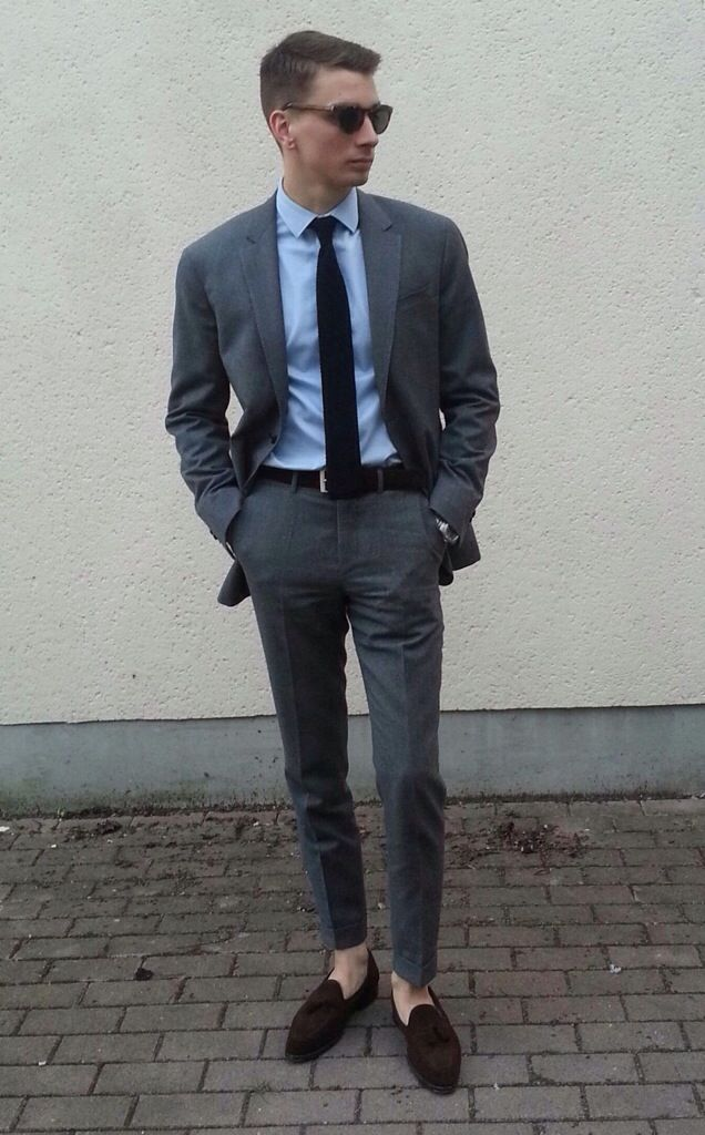grey suit, blue shirt and blue tie | 1. suited outfits | Pinterest ...