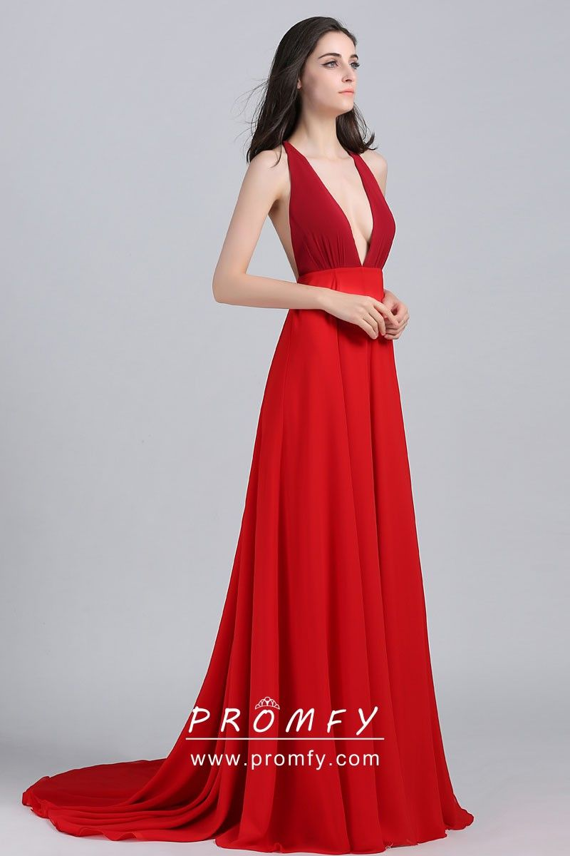 05346fa86e Two Shades of Red Open Back Plunging Neckline Celebrity A-line Prom ...