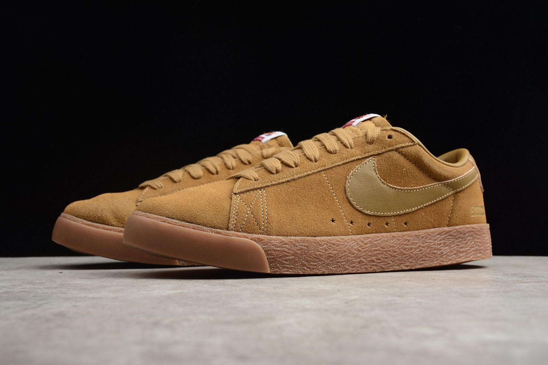 100% authentic 74fb7 6833e Supreme x Nike SB Blazer Low GT QS Golden BeigeGum 716890-229 For