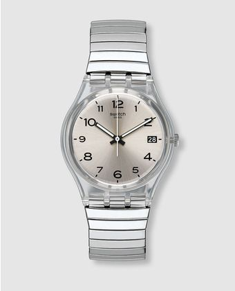 De Gm416b Mujer Swatch AceroTic Silverall Tac Reloj 8Pn0Okw