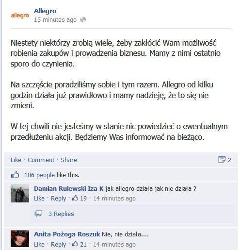 Shackowane Allegro Przeprasza Allegro