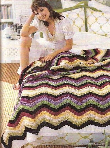 PATRONES GRATIS DE CROCHET: Patrón manta punto zig zag a crochet ...