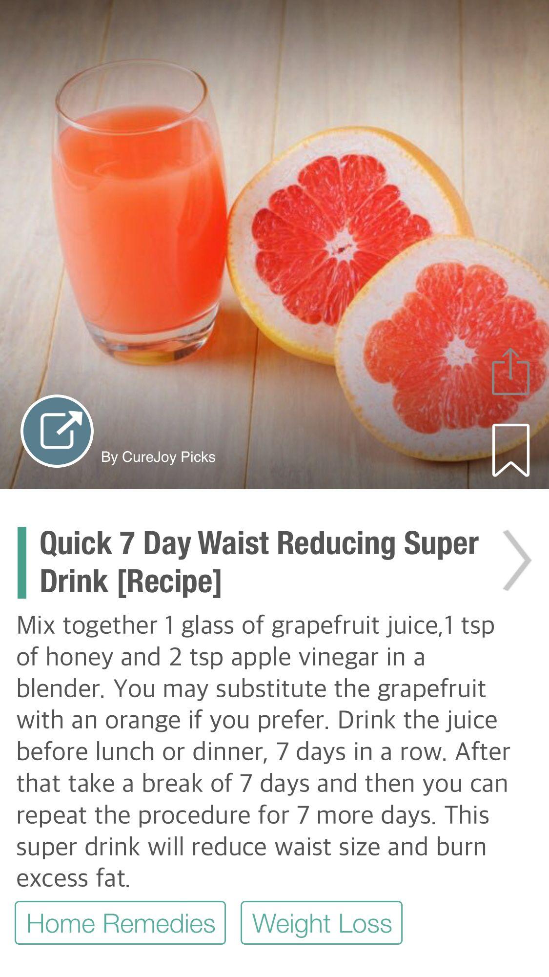 Quick 7 Day Waist Reducing Super Drink [Recipe] Drinks