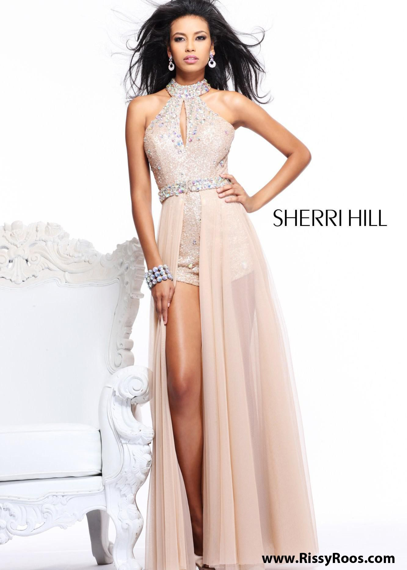 936fa7d0be02 Find Sherri Hill 2975 nude sequin high low prom dresses available now at  RissyRoos.com.
