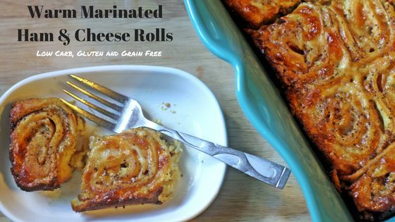 """Warm Marinated Ham & Cheese Rolls from My Table of Three are low carb, gluten and grain free and THM """"S"""". They are also great for LCHF and Keto Appetizers."""
