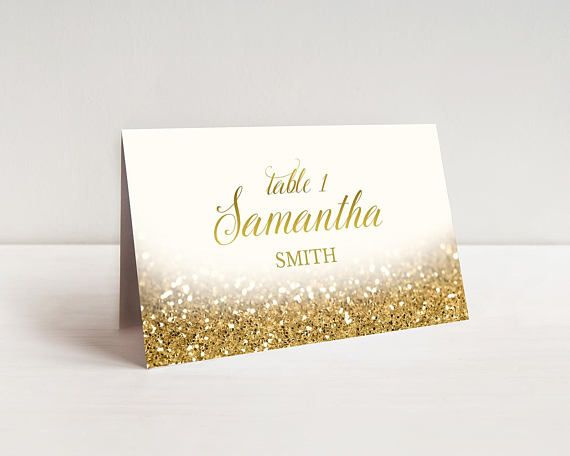 Gold Place Cards Wedding Printable Table