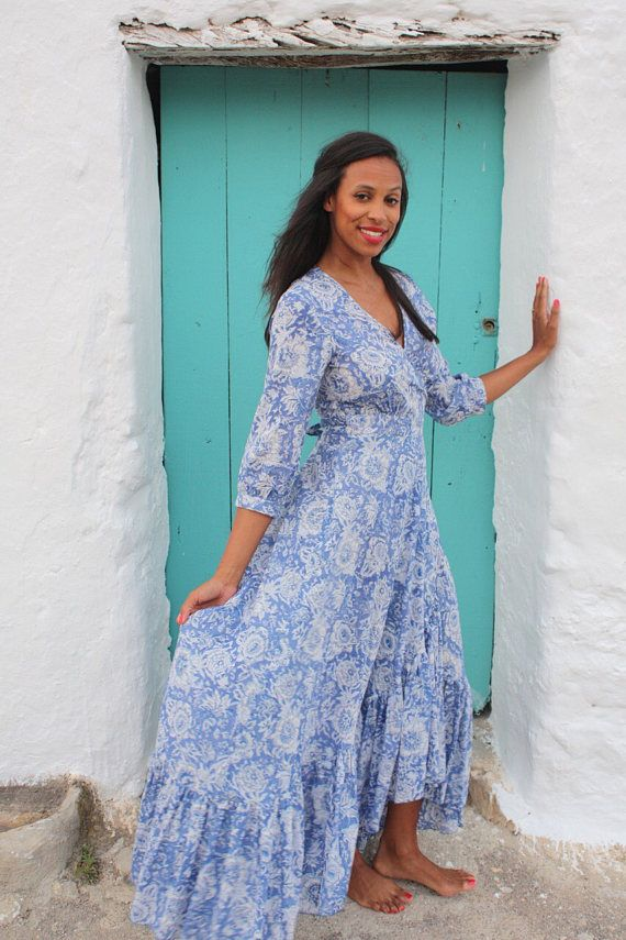 772a1dbd974e24 Goddess blue hand block print maxi cotton dress from Ibiza in 2019 ...