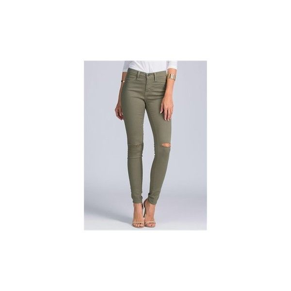 Slit Pretty High-Waisted Skinny Jeans OLIVE ($31) ❤ liked on Polyvore featuring jeans, green, stretch jeans, green skinny jeans, high rise jeans, olive skinny jeans and stretchy skinny jeans