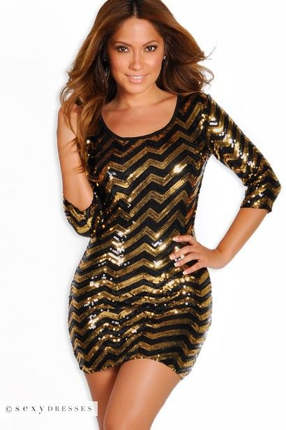 Open Back Short Black and Gold Sequin Dress with Sleeves ...