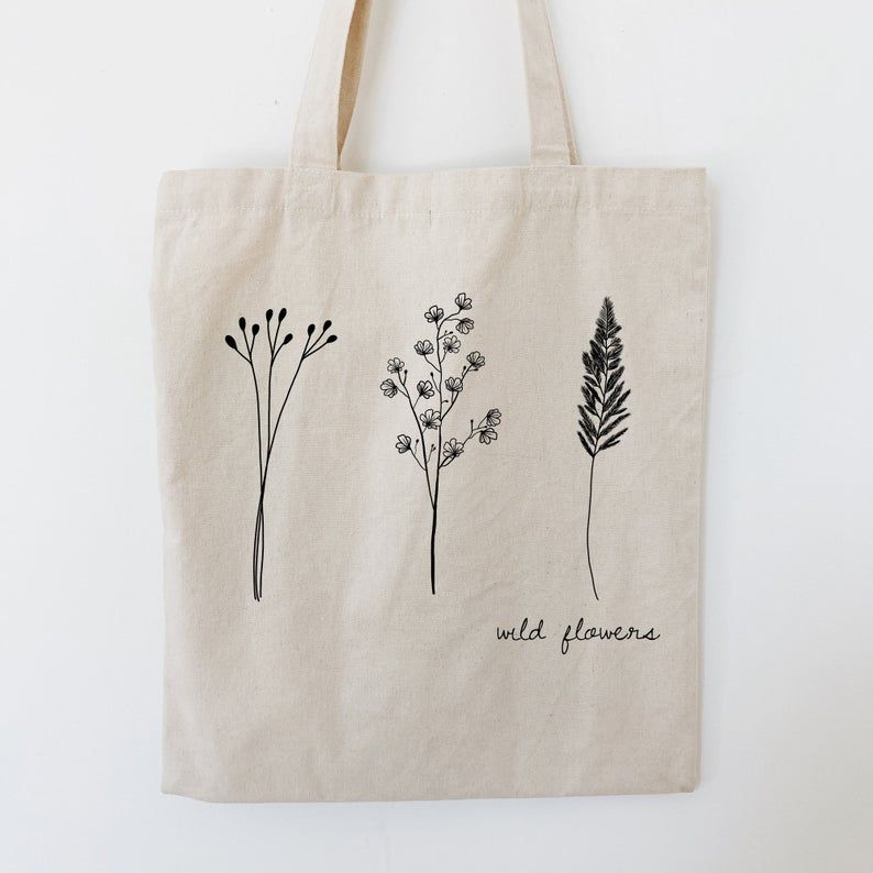 Wild Flowers Tote Bag Png Digital Print File Minimal Floral Etsy In 2021 Tote Bag Canvas Design Canvas Bag Design Embroidery Bags