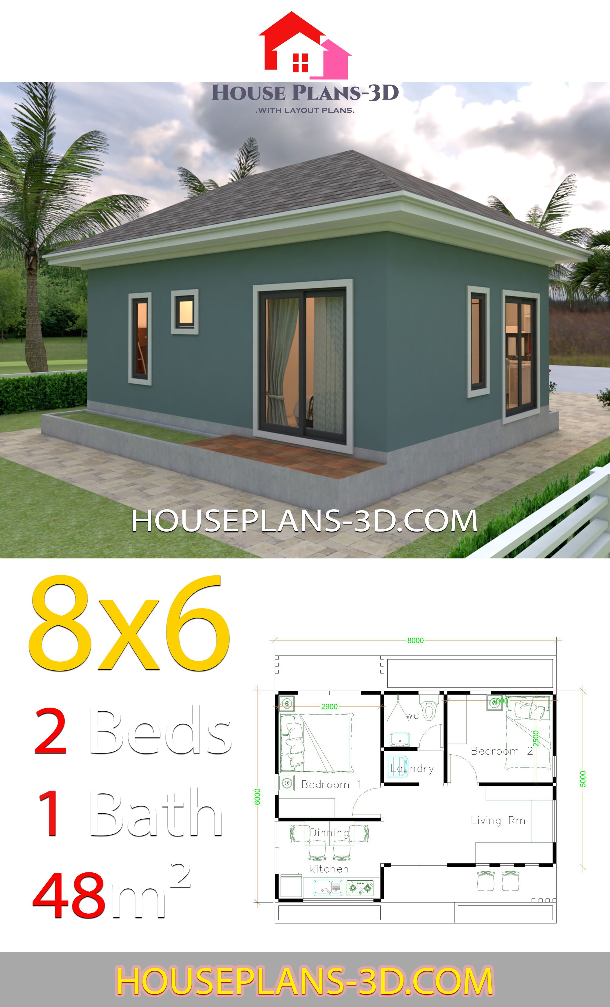 House Plans 3d 8x6 With 2 Bedrooms Hip Roof House Plans 3d House Roof Model House Plan Cottage Style House Plans