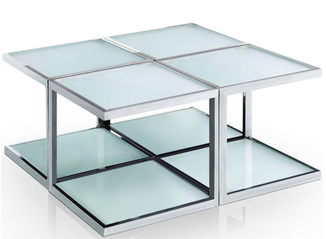 Table Basse Carree Modulable Verre Et Inox Kiabi En 2020 Table Basse Table Basse Bois Metal Table Basse Carree