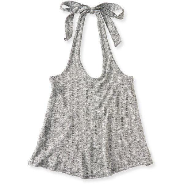 Aeropostale Sheer Knit Halter Top ($3.99) ❤ liked on Polyvore ...
