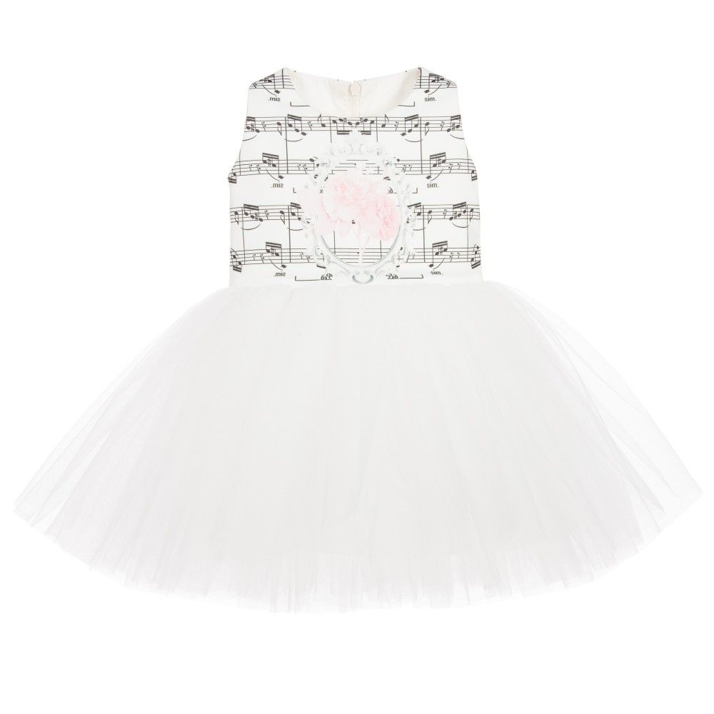 4e862ec765b5 Junona Baby Girls White Tulle Dress with Musical Notes at ...