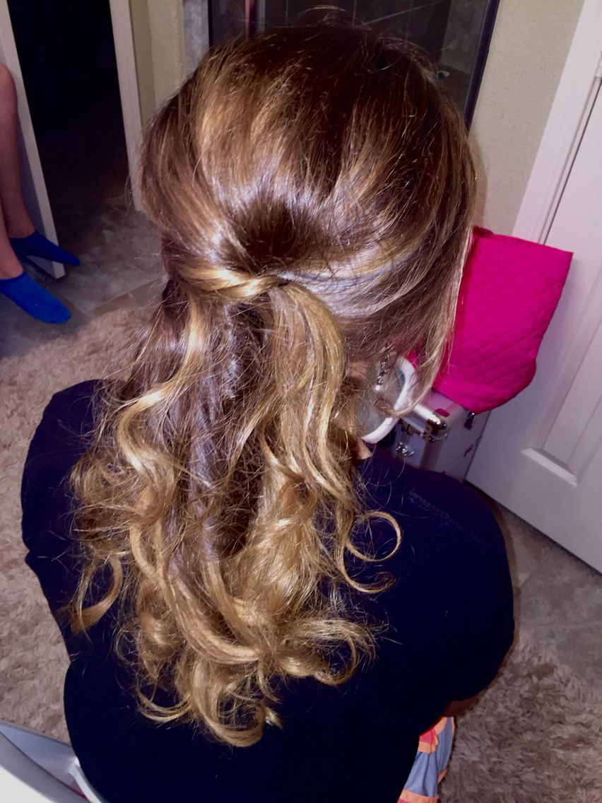 Prom half up half down curls formal cute girly beauty school