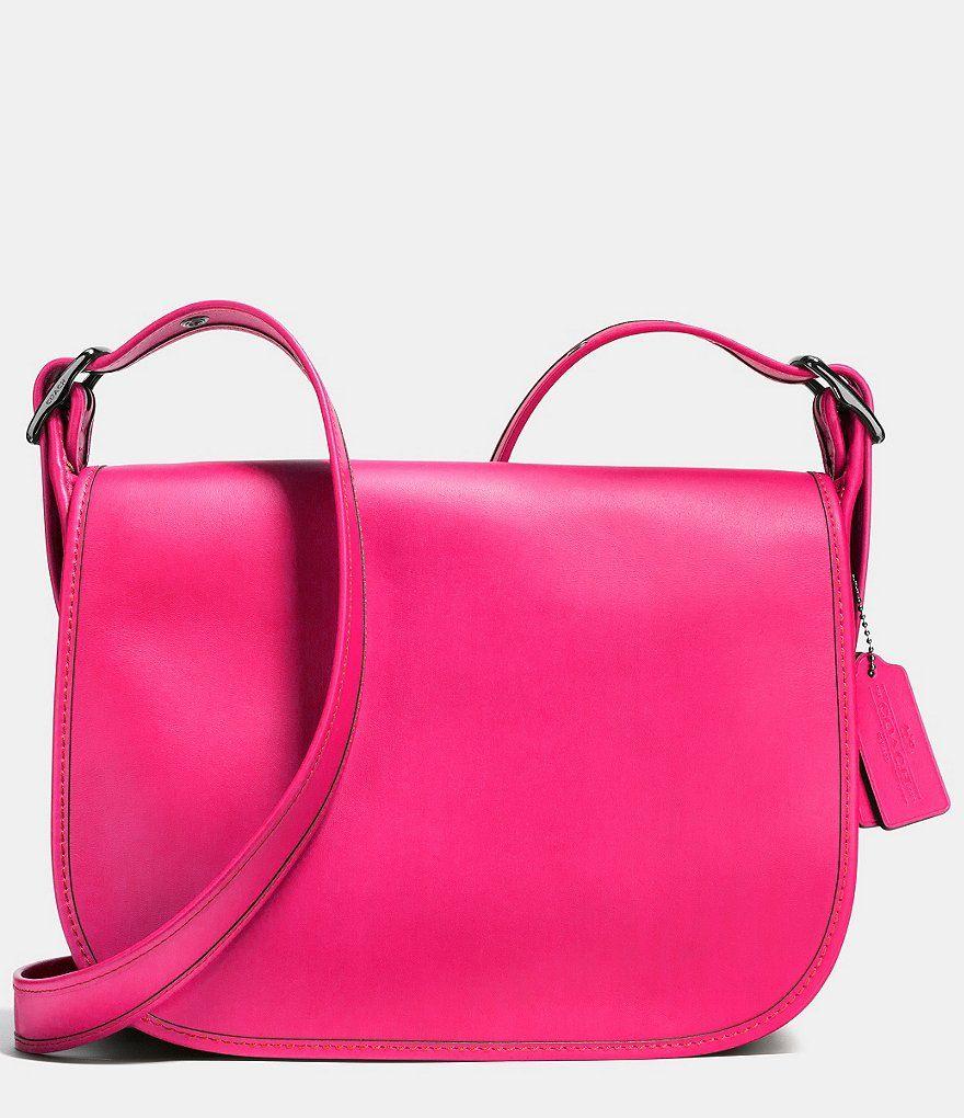 Dark Gunmetal Cerise Coach Saddle Bag In Glovetanned Leather