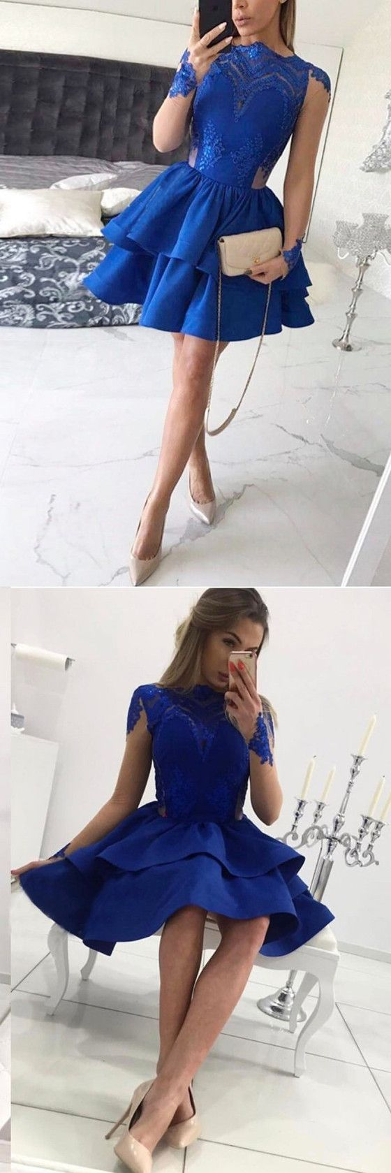 New arrival long sleeves blue lace appliques short homecoming