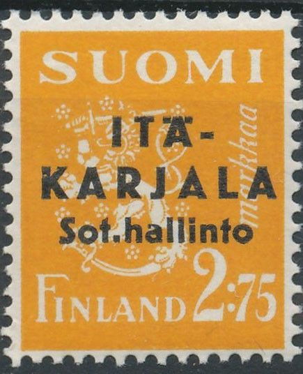 """East Karelia 1941 black overprint on 2,75mk p:14 [Mi FI-EK 4II] """"Pointed second A in Karjala"""""""