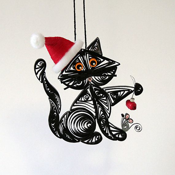 Santas Helper Kitty Cat Hanging Ornament: by AGiftwithinaGift