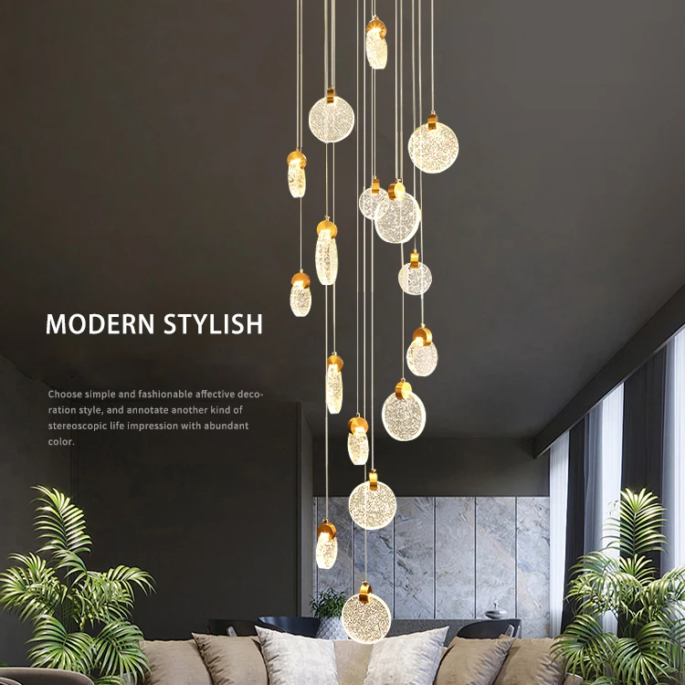 Photo of Modern Pendant Lamp For Stairwell Led Hanging Light For Hall Pendant Lights Living Room Round Glass Restaurant Kitchen Lighting