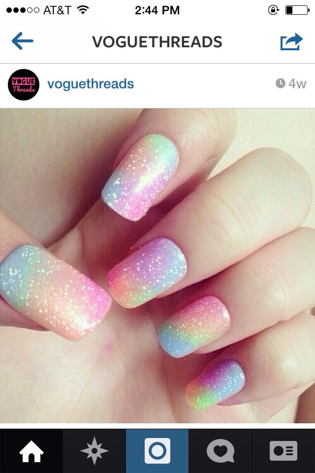 Rain bow star universe nails! Cute!