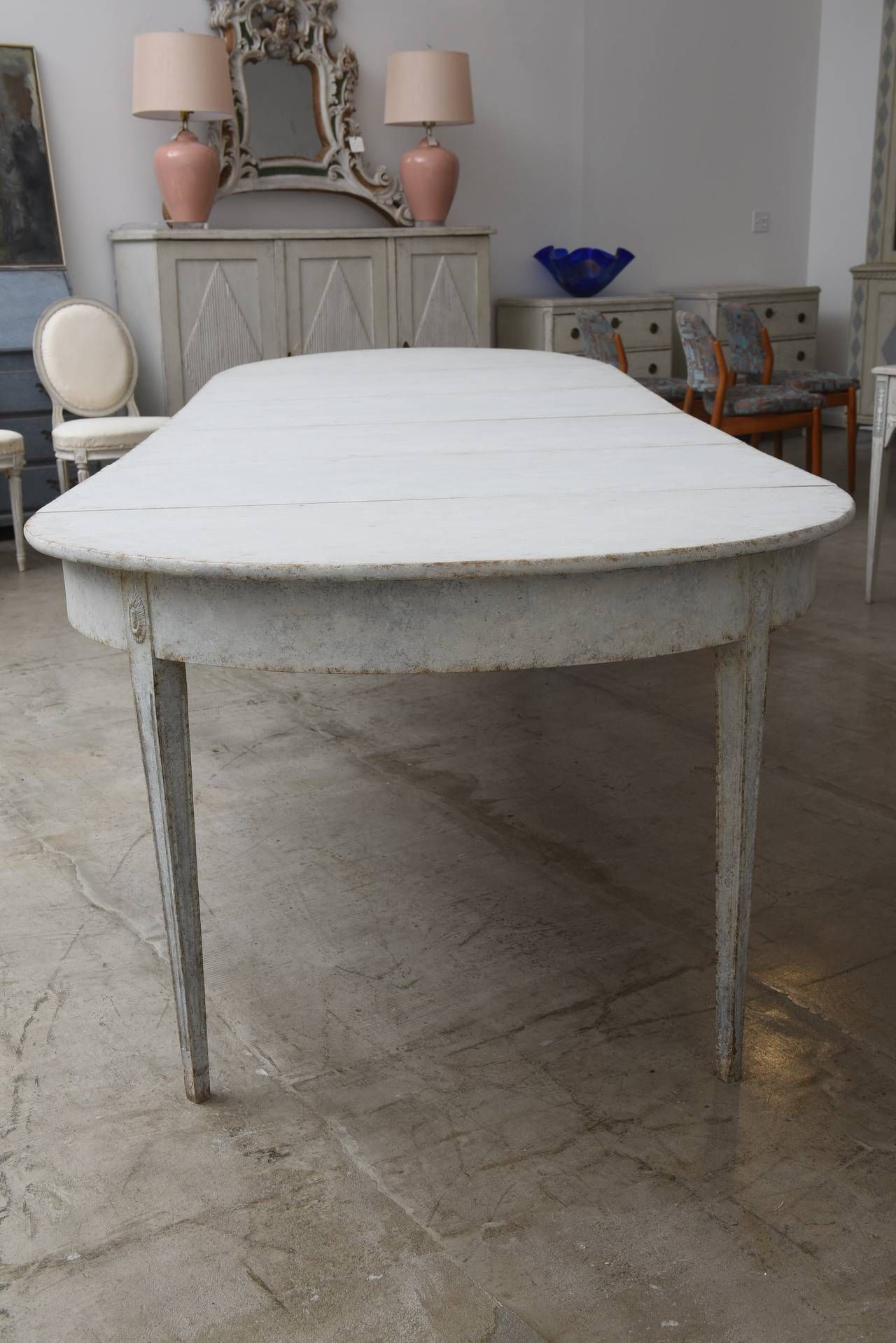 19th Century Antique Swedish Dining Table With Four Leaves From