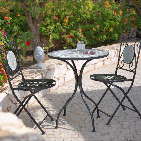 3 Teiliges Gartenset Aus Metall Ein Hingucker Im Mosaik Design