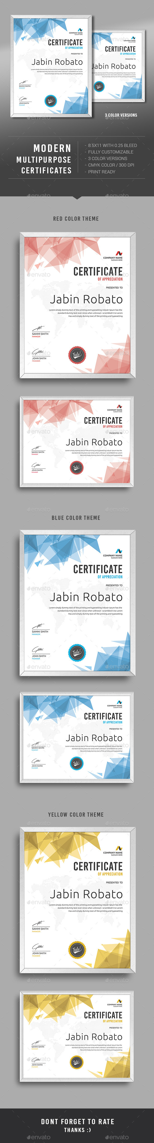 Certificate certificate certificate design and template modern multipurpose certificates template psd download here httpgraphicriver yelopaper Choice Image