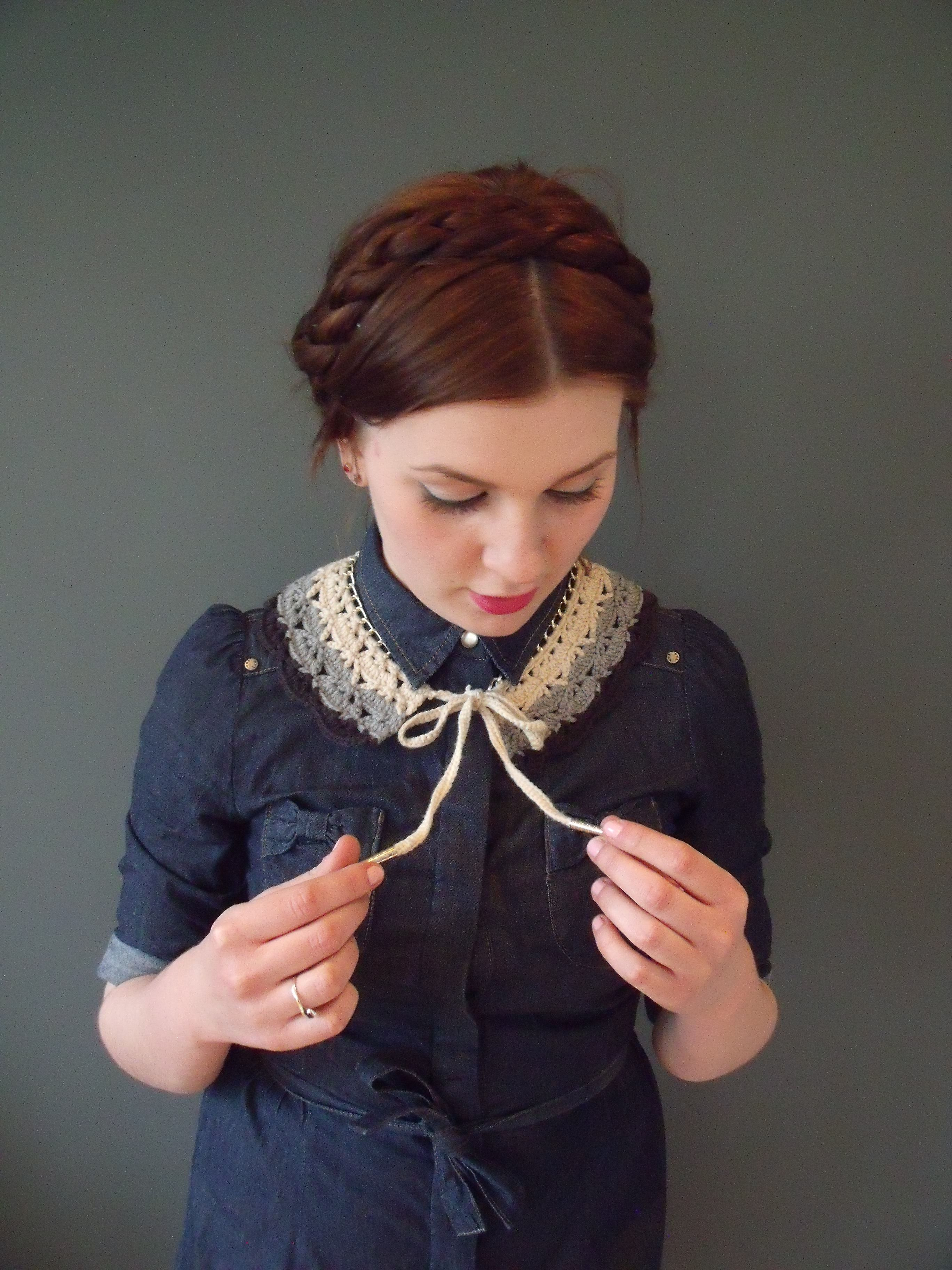 Ombre crochet lace collar xthreadbearxsy accessories via peter pan collar in gray whimsical crochet fiber by xthreadbearx bankloansurffo Image collections