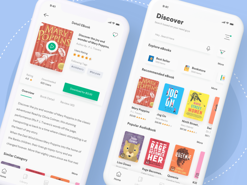 eBook & Audiobook app | UI Design | Audio books, App, Mobile app