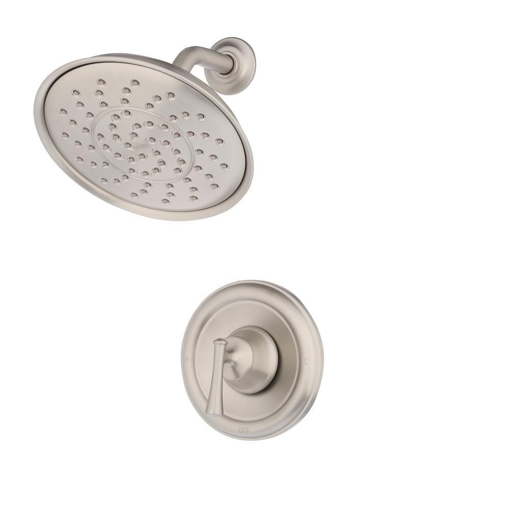 moen ashville single handle 1 spray shower faucet with valve in spot rh pinterest com