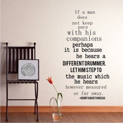Captivating Wall Decal Quote Different Drummer By Henry David Thoreau   Vinyl Lettering  Text Wall Words Stickers Design Ideas