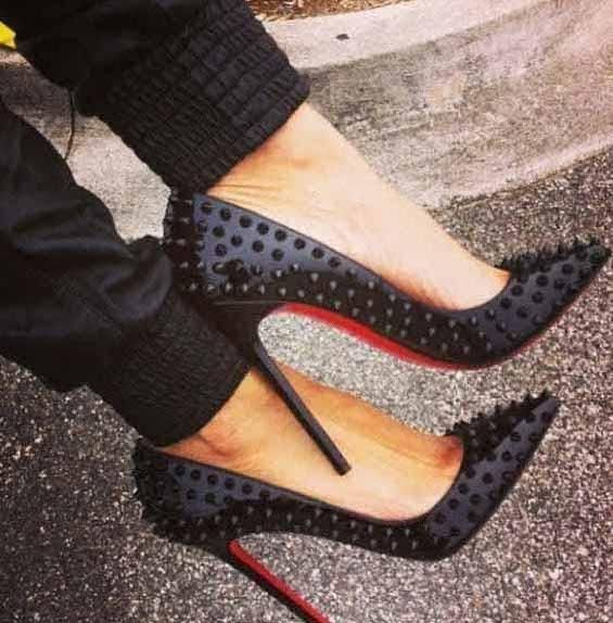 christian louboutin black pigalle spikes
