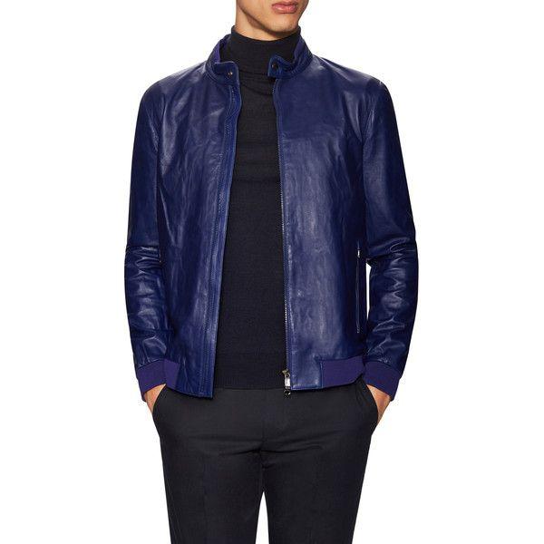 ccdd09f2 Z Zegna Men's Leather Racer Jacket - Dark Blue/Navy - Size XL ($499 ...